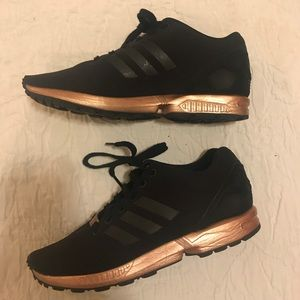 the best attitude 4a0e0 03577 Adidas Zx Flux Black and Copper/ Rose Gold